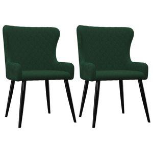 vidaXL Esszimmerstühle 2 Stk. Grün Samt