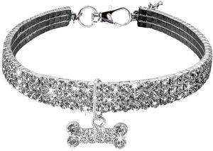 Haustier-Halsband, glitzernd, Kristall, elastisch, Strass, Katzenhalsband, Halskette für kleine Hunde,M,Weiß