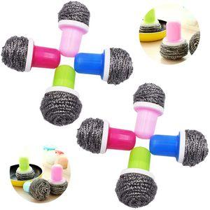 Topfreinigeraus Edelstahl, Edelstahl-Spirale, Stahlwolle Scheuer Metall Topfreiniger,Pinselwerkzeug mit 2 Griffen für die Reinigung des Küchenbadezimmers 4 Farben(8 Stück)