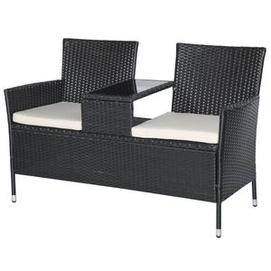 Outsunny Polyrattan Gartenbank Gartensofa Sitzbank mit Tisch 2-Sitzer Stahl Schwarz B133 x T63 x H84cm