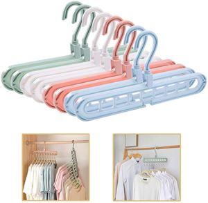 8 Stück Kleiderbügel Platzsparende, Multi Kleiderbügel Organizer Stabil Kleiderschrank Platzsparend Schrank Bügel Raumsparbügel Clothes Hanger mit 9 Löchern (8 Stück-4 Farben)