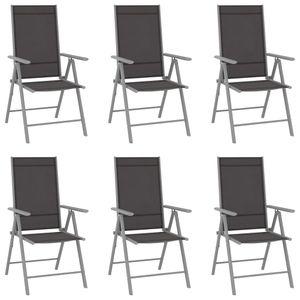 Gartenstühle Klappbar 6er Set Garden Chair Esszimmerstühle Sessel | Garten Stapelstuhl Hochlehner Textilene Schwarz - 8529