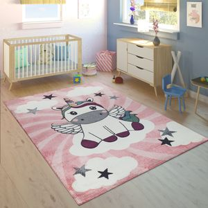 Kinderteppich Kinderzimmer Mädchen Modern Einhorn Auf Wolken In Rosa Lila, Grösse:120x170 cm