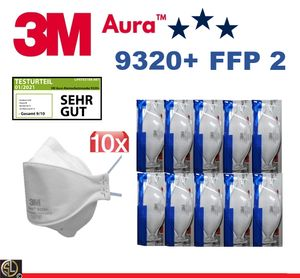 10er Pack 3M™ Aura™ Atemschutzmaske 9320+ FFP2 FFP 2 I CE2797 I ohne Ventil