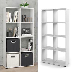 Vicco Raumteiler Scutum 8 Fächer Weiß 140 x 70 cm - Regal Bücherregal Standregal Aktenregal Raumtrenner