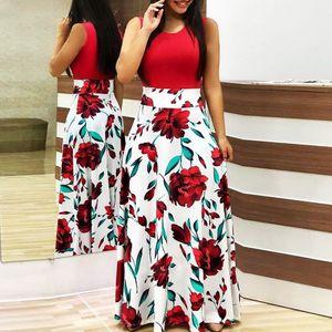 Frauen Sommer ärmelloses Blumen bedrucktes Sommerkleid Lässiges Swing-Kleid Maxikleid Größe:XXL,Farbe:Rot