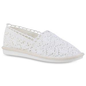 Giralin Damen Slip Ons Slippers Flache Spitze Stoff-Schuhe 836563, Farbe: Weiß, Größe: 38