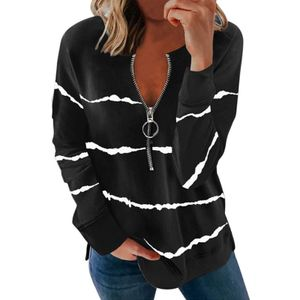 Damen Langarm Langarm Loses Sweatshirt Zip Casual T-Shirt Top,Farbe: Schwarz,Größe:XXL