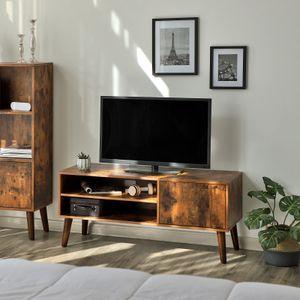 VASAGLE Retro Lowboard mit Tür | TV-Regal 110 x 49,5 x 40 cm | Holzoptik Fernsehtisch | Retro-Möbel | Fernsehschrank | Vintage LTV09BX