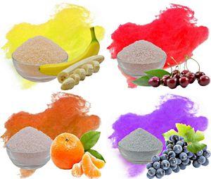 Aromazucker für bunte Zuckerwatte 4x250g Set mit Geschmack | Banane - Gelb, Kirsche - Rot, Apfelsine - Orange, Traube - Lila | Farbzucker Zucker für Zuckerwatte Zuckerwattemaschine Zuckerwattezucker