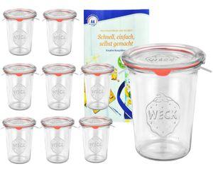 9er Set Weck Gläser 850ml, 3/4L Sturzgläser mit 9 Glasdeckeln, 9 Einkochringen und 18 Klammern