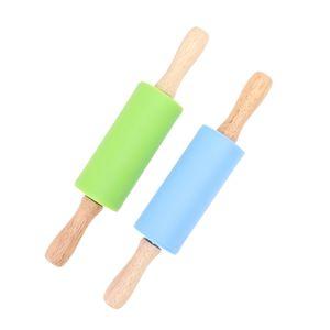 2 stücke silikon nudelholz antihaft oberfläche mini roller rolling stick küche werkzeug für kinder (mischfarben)