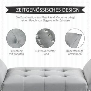 HOMCOM Polsterbank Sitzbank moderner Bettbank mit Knöpfen Gummiholz Samtige Berührung Hellgrau 114 x 46 x 56 cm