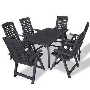 【NEW】Garten Möbel HOMMIE - 6 Personen Garten-Essgruppe - Sitzgruppe Garten - Terassenmöbel(Tisch mit Stühlen) Kunststoff Anthrazit ☆092304
