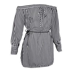 Frauen Sommer schulterfrei lange Ärmel Streifen lose kurzes Kleid weiß s wie beschrieben Schulterfreies Kleid