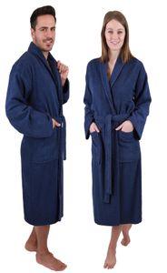 Betz Bademantel mit Schalkragen MADRID für Damen und Herren 100% Baumwolle, Größe - M, Farbe blau