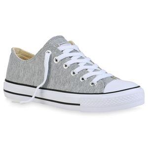 Mytrendshoe Damen Sneakers Freizeit Schuhe Stoffschuhe Sportschuhe 815215, Farbe: Hellgrau, Größe: 41