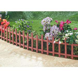 Zierzaun 2,38m Holzoptik Beetumrandung Gartenzaun Beeteinfassung Steckzaun Zaun