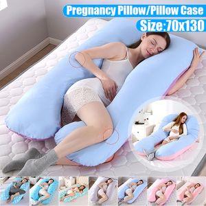 Sunnyme U-förmiger Körper-Kissenbezug, Schwangerschaftsunterstützung, waschbar, U-Baumwoll-Kissenbezug (Blau)