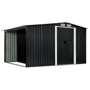 vidaXL Gerätehaus mit Schiebetüren Anthrazit 329,5×131×178 cm Stahl