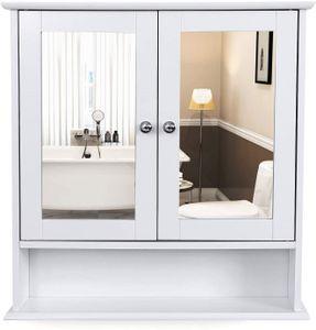 VASAGLE Spiegelschrank mit Ablage und 2 Türen | Badschrank weiß | 58 x 56 x 13 cm Hängeschrank Schminkschrank aus Holz LHC002
