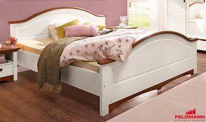 Doppelbett Bett 180x200cm weiß / kirschbaum Landhaus Kiefer Massivholz