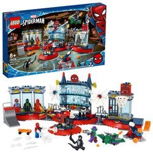 LEGO 76175 Marvel Angriff auf Spider-Mans Versteck Bauset mit Green Goblin und Venom Figuren, Superhelden Spielzeug