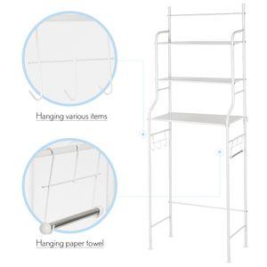 Toilettenregal Badezimmerregal Waschmaschinenregal Regal weiß 165x55x27cm   Waschmaschinen-Regal Ständer WC, 3 Ablagen