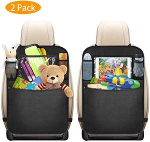 2 Stück Auto Rücksitz Organizer für Kinder mit Große Taschen und Durchsichtigem iPad-Tablet-Fach Rückenlehnen-Tasche Wasserdicht Kick-Matten-Schutz für Autositz
