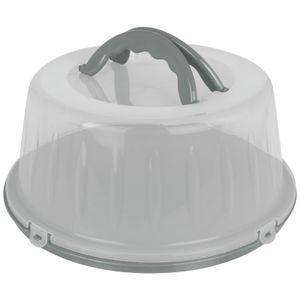 Kuchenhaube 33x15cm Grau Tortenbehälter rund Kunststoff Tortenbox Kuchenbehälter Tortenglocke Transportbehälter Kuchen Torten Box,