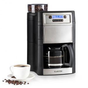 Klarstein Aromatica II Kaffeemaschine mit Mahlwerk - Filter-Kaffeemaschine, 1000 Watt, 1.25 Liter Glaskanne, 24-Stunden-Timer, Warmhalteplatte, inkl. Permanent- und Aktivkohle Filter, silber