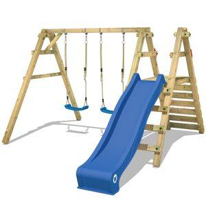 WICKEY Kinderschaukel Schaukelgestell Sky Slider Prime mit blauer Rutsche Schaukel, Schaukelgerüst, Doppelschaukel, Holzschaukel