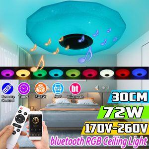 72W RGB LED Dimmbar Deckenleuchte Lampe Diamant-Stil bluetooth Lautsprecher Bunt mit Fernbedienung