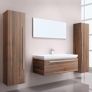 HOME DELUXE - Badmöbel BALTRUM - Holz (HB) Badezimmermöbel Waschbecken Unterschrank Spiegel