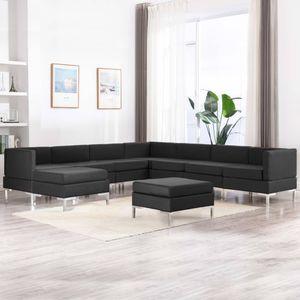 9-tlg. Sofagarnitur 4 x Sofa-Mittelstück+3 x Sofa-Eckteil+2 x HockerStoff Schwarz