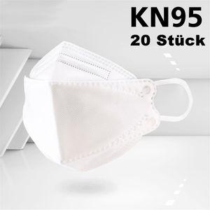 20 Stück KN95 Maske  PM2.5 95% Filtration Gesichtsmaske schutz Schutzmasken Vliesstoff + schmelzgeblasener Stoff