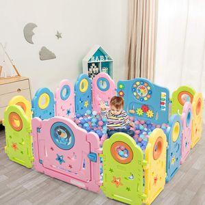 COSTWAY 14 Paneele Laufgitter, Baby Laufstall mit Tür und Spielzeugboard, Absperrgitter mit Sicherheitsschloss, Krabbelgitter Spielzaun für Kinder 6 Monate-6 Jahre alt