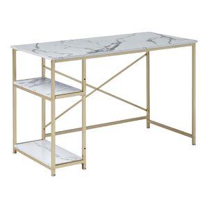 MCombo Metallmöbel Bürotisch Computertisch Schreibtisch 2188GD mit Marmor-Look 120 x 60 x 75 cm