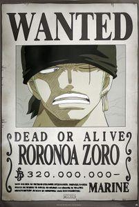 One Piece Poster Wanted Roronoa Zoro 91,5 x 61 cm