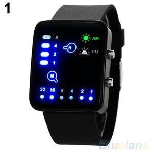 Casual Unisex Binary System LED quadratisches Zifferblatt Silikonband Quarz Armbanduhr Schwarz