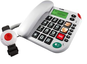 MaxCom KX481SOS: Hausnotruf Telefon mit Notrufarmband; schnurgebundenes Festnetztelefon mit Notrufknopf und Notruf Armband; Notruftelefon für Senioren; Seniorentelefon + Adapterstecker; große Tasten