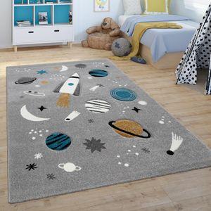 Kinder-Teppich, Spiel-Teppich Für Kinderzimmer, Weltall, Rakete, Planeten, Grau, Grösse:120x170 cm