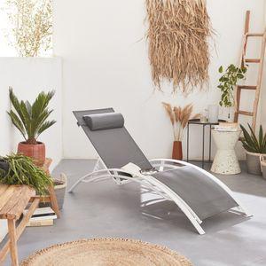 Sonnenliege aus Aluminium und Textil - Louisa Grau/Weiß - Liegestuhl