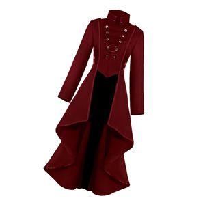 Womens Steampunk Gothic langen Mantel Schwanz Jacke Cosplay Kostüm Anzug rot M M.