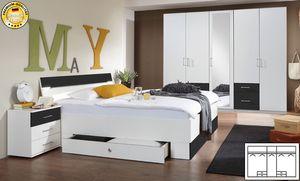 Schlafzimmer komplett Cheep 4-teilig mit 225cm Kleiderschrank weiß / anthrazit Neu