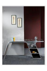 SIT Möbel Schreibtisch Airman, Alu Optik mit Zierschrauben | B 175 x T 60 x H 75 cm | silber | 81707-21 | Serie AIRMAN