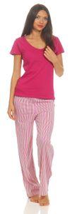 Damen Shorty Schlafanzug , Farbe:pink/grün, Größe :48/50