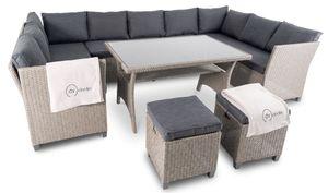 di volio Polyrattan Sitzgruppe LIVORNO - Lounge Gartenmöbel-Set mit Ecksofa, Tisch & 2 Hockern - Loungemöbel in Rattan-Optik inkl. zwei Fleecedecken