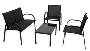 DEGAMO Loungeset Sitzgruppe Lounge Gartenset ARONA 4-teilig, Metall + Kunstgewebe schwarz
