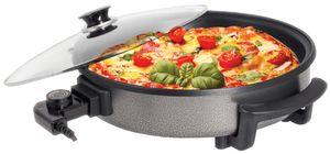 Zilan elektrische Pizzapfanne | Hitzebeständiger Glasdeckel | mit Dampfaustritt | 1500 Watt
